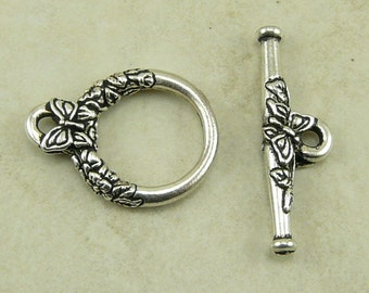 1 TierraCast Butterfly Flower Toggle Clasp - Silver Plated Lead Free Pewter - I ship Internationally 6097