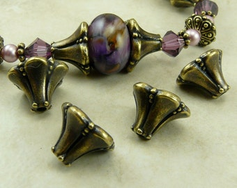 4 TierraCast Large Bell Flower Bead Caps > Victorian Ornate Steampunk - Brass Ox Plated LEAD FREE pewter - I ship internationally 5666