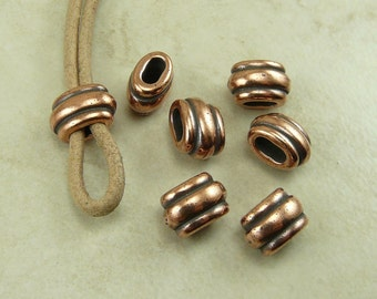 Barrel Slide Spacer Beads 4x2mm ID Deco Ribbed Small Qty 6 TierraCast > Copper Plated Lead Free Pewter - I ship Internationally NP