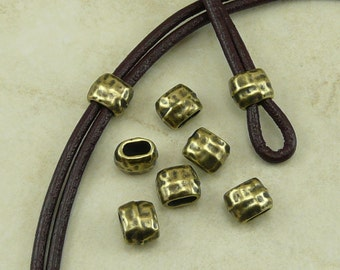 Barrel Crimp Spacer Beads 4x2mm ID Hammertone Hammered Small TierraCast Qty 6  * Brass Ox Plated Lead Free Pewter NP