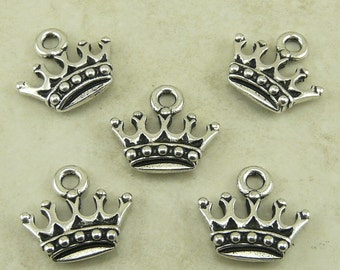5 TierraCast Kings Crown Charms > Royalty Fairy Tale Princess Prince - Silver-plated Lead Free Pewter - I ship Internationally 2279