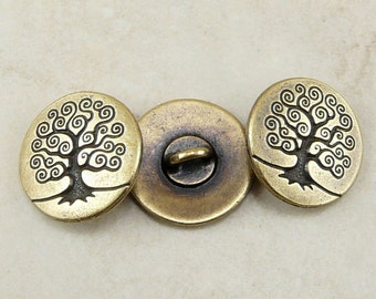 3 TierraCast Spiral Tree of Life Buttons > Bodhi Zen Serenity Mother Earth - Brass Ox Plated LEAD FREE Pewter - I ship Internationally 6562
