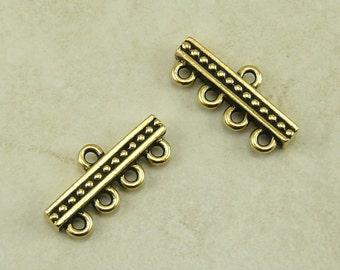 2 TierraCast Beaded 4-1 Link Bead Bar Connectors - 22kt Gold  Plated LEAD FREE Pewter bead - I ship Internationally 3139