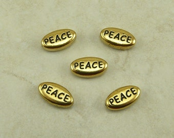 PEACE Word Beads TierraCast * Sentiment Christmas World Feeling Qty 5 - 22kt Gold Plated Lead Free Pewter - I ship internationally NP