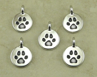 Dog Paw Charms Round TierraCast > Bangle Puppy Canine Best Friend Doggy Qty 5 - Silver Plated Lead Free pewter - I ship Internationally 2420