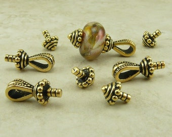 4 Sets TierraCast Royal Bails Glue In with caps * 22kt Gold-plated Lead Free Pewter - I ship Internationally NP