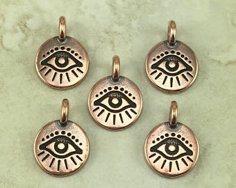 Evil Eye Round Stamp charm > Curse Protection Amulet Talisman Greece Egypt - Copper Plated Lead Free pewter I ship Internationally 2504