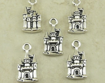 5 TierraCast Fairy Tale Castle Charms * Fairy Tale Princess Hogwarts Magic - Silver Plated Lead Free Pewter - I ship Internationally NP