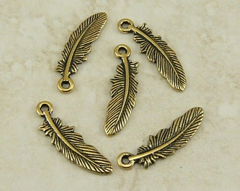 Small Bird Feather Charms > Eagle Crow Hawk Indian Western Qty 5 - TierraCast 22kt Gold Plated Lead Free Pewter - I ship Internationally NP
