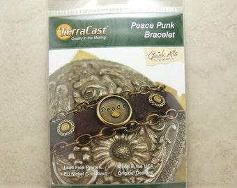 Peace Punk Bracelet - TierraCast Quick Kit - Leather DIY Steampunk Steam Punk Brass- American Made Lead Free Pewter - I ship Internationally