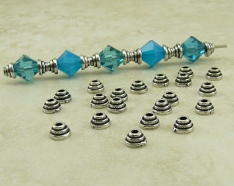 4mm Tiny Stepped Bead Caps > Ribbed Graduated Small Bead Cap Qty 20 - TierraCast Silver Plated Lead Free Pewter - I ship Internationally NP