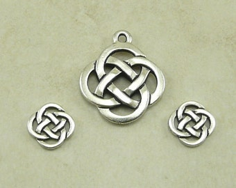 3 TierraCast Open Celtic Knot Round Charms & Pendant Mix > Irish St Patricks - Fine Silver Plated Lead Free Pewter - I ship Internationally