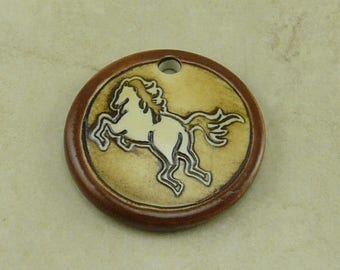 "Cocoa Tang Horse Disk Pendant - Stallion Mare Colt Filly Western Rodeo Ivory Brown Clay River Designs 1 1/4"" Diameter I ship Internationally"
