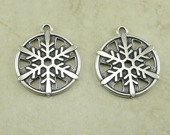 2 TierraCast Snow Flake Pendant Charms - Fine Silver-plated Lead Free Pewter - I ship Internationally 2371