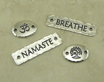 4 TierraCast Yoga Links Mix > Om Breathe Namaste Tree of Life Zen Leather - Fine Silver Plated Lead Free Pewter - I ship Internationally