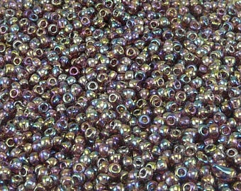 TOHO 11/0 Round Seed Beads - Transparent Rainbow Medium Amethyst - 20 gram Bag - Purple Grape February - Color Code 166B - Jar 41
