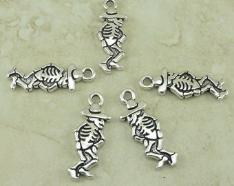 5 TierraCast Dancing Senior Senor Skeleton Day of the Dead Charms > Halloween - Silver Plated Lead Free Pewter - I ship Internationally 2316