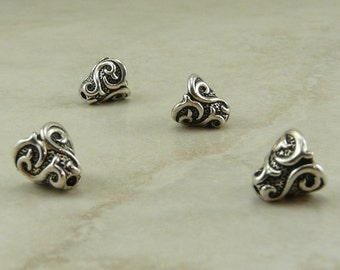 4 TierraCast Lilly Cone Bead Caps > Flower Floral Spring Bridal - Silver Plated LEAD FREE pewter - I ship internationally 5609