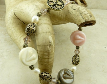 Steampunk Love Heart and Brass Gear Lampwork Bead and Vintage Brass Bracelet > Pink Ivory Vintage Style Romantic - I ship Internationally