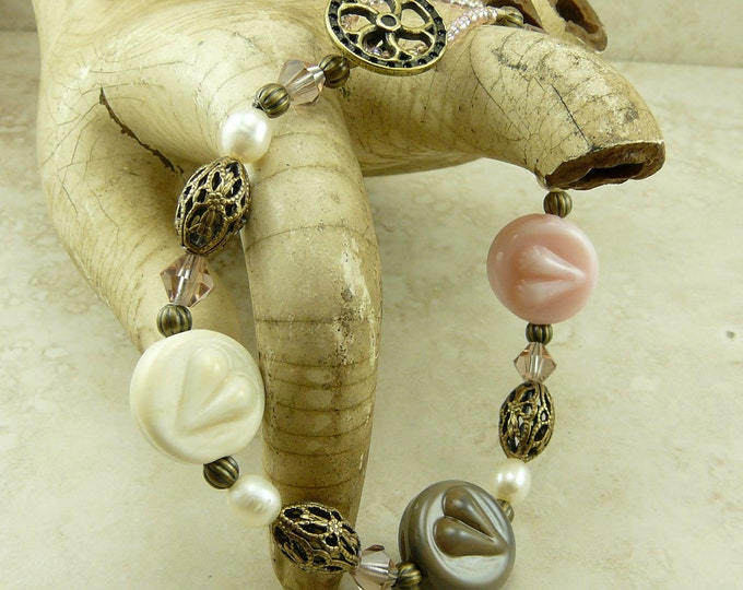 Featured listing image: Steampunk Love Heart and Brass Gear Lampwork Bead and Vintage Brass Bracelet > Pink Ivory Vintage Style Romantic - I ship Internationally