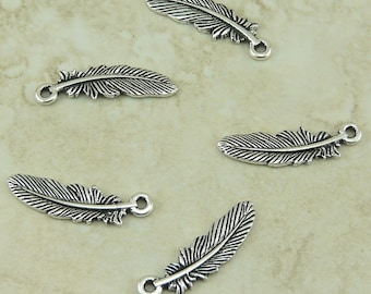 Bird Feather Charms Small TierraCast > Eagle Hawk Crow Indian Quill - Qty 5 Silver plated Lead Free Pewter - I ship Internationally NP