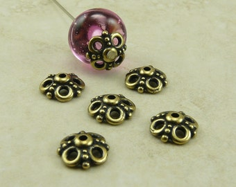 6 TierraCast 9mm Clover Open Ornate Bead Caps > Bumble Bee Circles Brass Ox Plated LEAD FREE pewter - I ship Internationally 5605