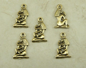 5 Egyptian Cleopatra with Asp Snake Charms > Raw American made Lead Free Pewter in gold tone finish - I ship internationally