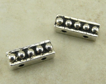 2 TierraCast Beaded 2 Hole Bead Bars - 2 Strand Spacer - Silver Plated LEAD FREE Pewter - I ship Internationally 5560