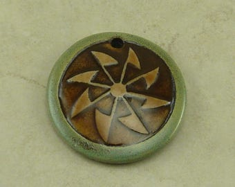 "Olive Sage Pinwheel Disk Pendant - Tribal Celtic Crop Circle Green Ivory Brown - Clay River Designs 1 1/4"" Diameter I ship Internationally"