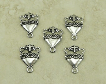 5 Sacred Heart Rosary Link Connectors > Thorns Cross Catholic Religious Medallion Italian Roman Pope - Raw Lead Free Silver Pewter