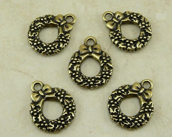 5 TierraCast Wreath Charms - Christmas Pine Tree - Brass Ox-plated Lead Free Pewter - I ship Internationally - 2351