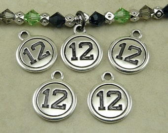 Number 12 Round Charms * Seattle Seahawks 12th Player Football Fan Qty 5 TierraCast Lead Free Silver Plated Pewter I ship internationally NP