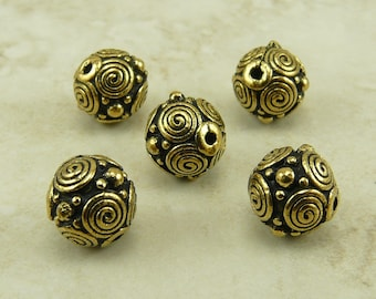 5 TierraCast 8mm Spiral Circles Bead * Bali Style Swirl Celtic Zen Doodle - 22kt Gold Plated Lead Free Pewter - I ship Internationally NP
