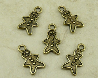 5 TierraCast Gingerbread Man Charms Holiday Cookie >  Brass Ox Plated Lead Free Pewter - I ship Internationally 2356