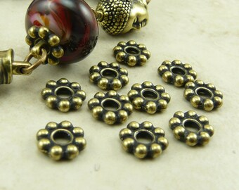 Large Hole Daisy Spacer Beads 8mm Qty 10 TierraCast  > Brass Ox Plated LEAD FREE Pewter - I ship Internationally NP