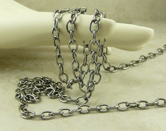 1 Foot TierraCast 6x4mm Cable Chain - Chain by the Foot - Antique Gray Silver Plated Brass American Made - I ship Internationally 0425