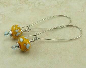 Walking on Sunshine Lampwork Beads & Swarovski Earrings > Sunny Yellow Sky Blue Summer - Surgical Steel Kidney Ear Wires