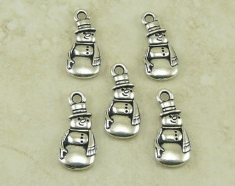 5 TierraCast Frosty the Snowman Charms > Christmas Winter Snow Man - Silver-plated Lead Free Pewter-I ship Internationally - 2355