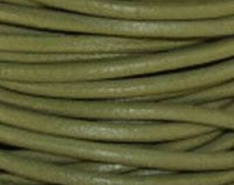 "2mm Round Absinth Green Leather Lace Cord - 2mm 3/32"" Diameter Olive Moss Craft Jewelry Bracelet Wrap Necklace - I ship Internationally"