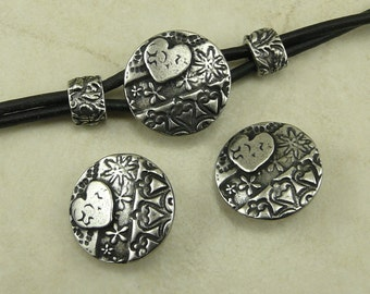 3 TierraCast Dulce Vida Amor Round Button Mix Pack - Hearts Flower Swirl Pattern Love Texture Antiqued Pewter Silver Lead Free 6581