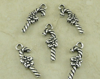 5 TierraCast Candy Cane Charms - Christmas Holiday Yule Festive  - Silver Plated Lead Free Pewter - I ship Internationally - 2347