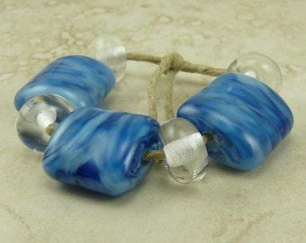 Cool Waters Lampwork Glass Bead Set - Blue Aqua Clear Cerulean Denim Ocean Beach Coast Royal - SRA - I ship Internationally