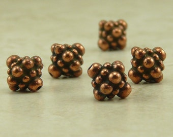 Ornate Pamada Bicone Bali Style Beads Qty 5 - TierraCast  Copper Plated Lead Free Pewter - I ship internationally NP