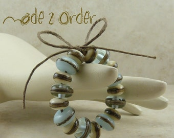 Made 2 Order > Robins Nest Lampwork Bead Set - Pale Blue Silvered Ivory Transparent Sea Glass Beach Weathered - SRA - I ship Internationally