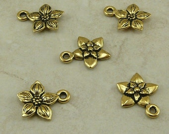 5 TierraCast Star Jasmine Flower Charms > Floral Bride Bridal Spring Garden - 22kt Gold Plated Lead Free Pewter I ship Internationally 2184