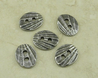 5 TierraCast Oval Shell Texture Buttons > Ocean Beach Coast Summer -  Antiqued Silver Finish LEAD FREE Pewter - I ship Internationally 6560