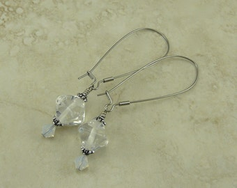 Milky Moonstone Glass Crystal Shaped Lampwork Bead Earrings > Pure White Clear Bride Bridal Wedding - Surgical Steel Kidney Ear Wires