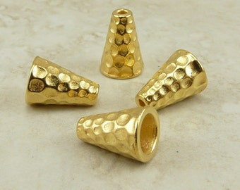 4 Tall Hammertone Bead Caps Cones > Hammered Industrial - TierraCast 22kt Gold Plated LEAD FREE pewter - I ship internationally 5736