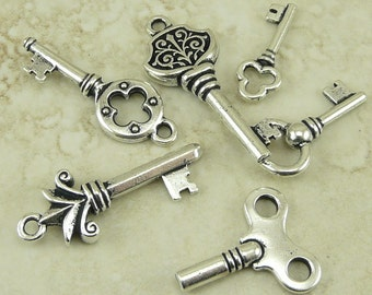 Antique Look Key 6 Charm Mix Pack - Tierra Cast Silver-plated Lead Free Pewter - I ship Internationally