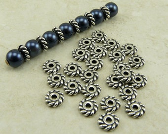 6mm Twisted Heishi Rope Spacer Beads Qty 25 > Western Ornate - TierraCast Silver Plated LEAD FREE Pewter - I ship Internationally NP